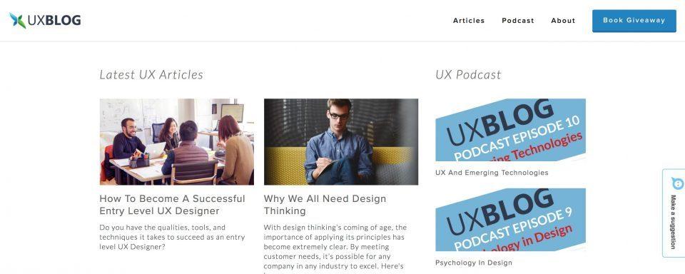 UX Blog Homepage