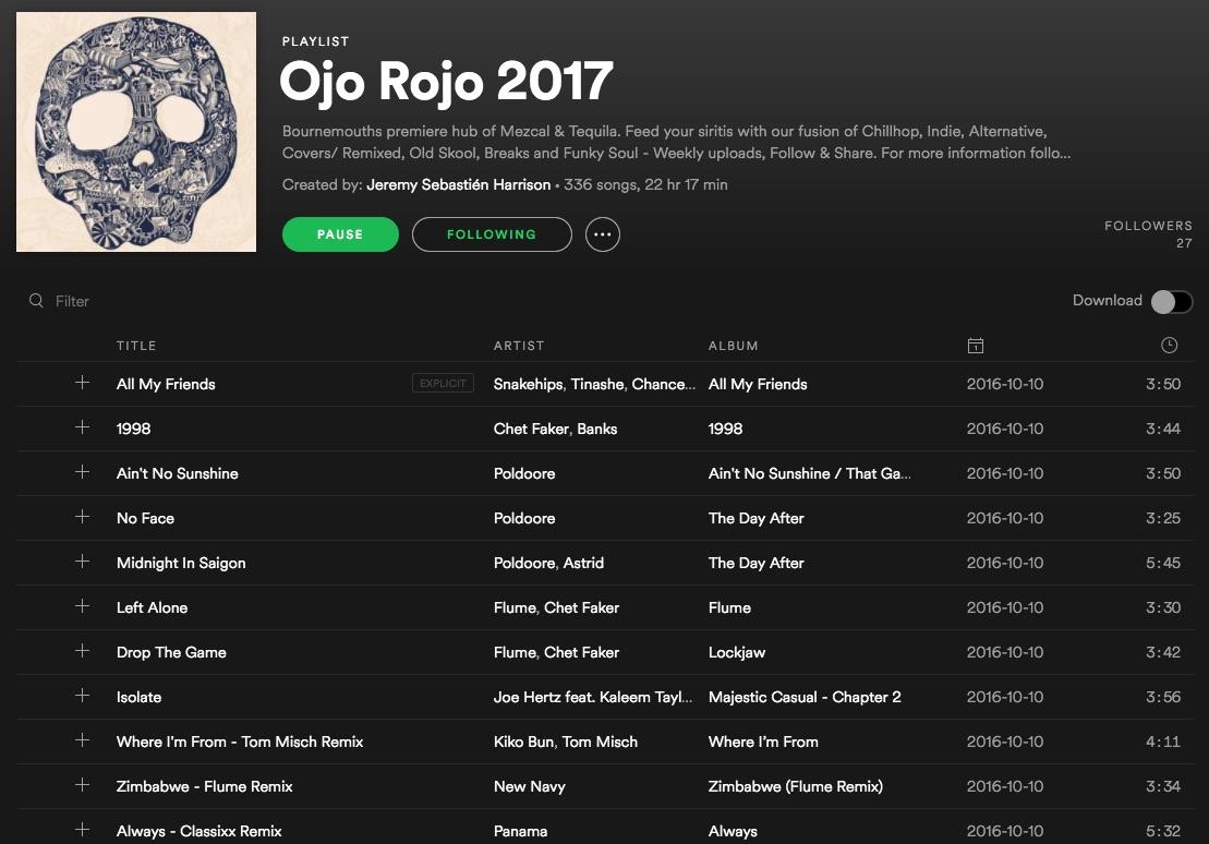 Ojo Rojo Spotify Playlist