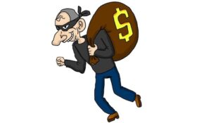 Digital cartoon thief with a mask and burlap mask